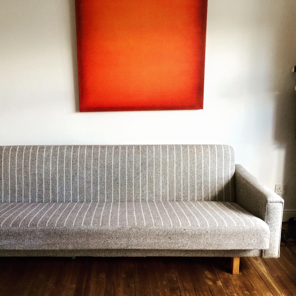 Wonderful, Mid Century Modern Sofa Bed From Denmark In A Grey Striped Wool  Upholstery Material. Solid Wood Frame, Sprung Mattress And Seat.