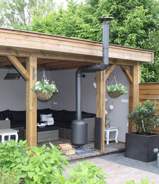 roofed patio area with woodburner