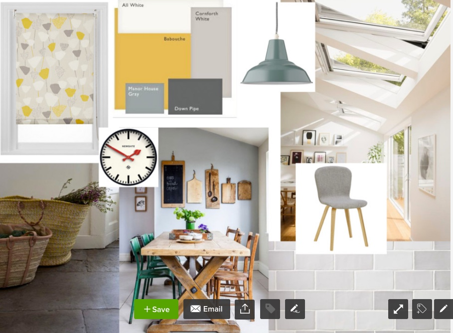 Mood board in mustard and grey to transform a farmhouse kitchen with skylights