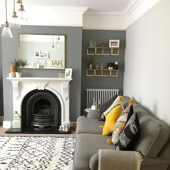gray and mustard living room