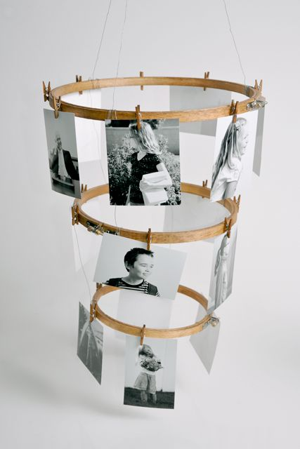 An embroidery hoop photo chandelier