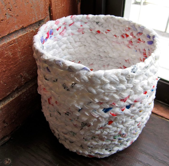 plarn basket upcycling tutorial