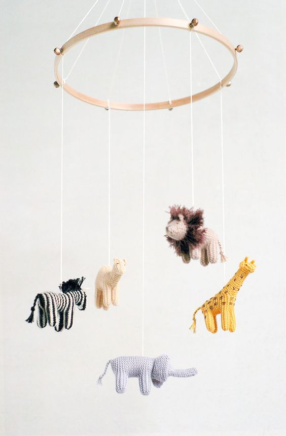 crocheted animals mobile for nursery embroidery hoop