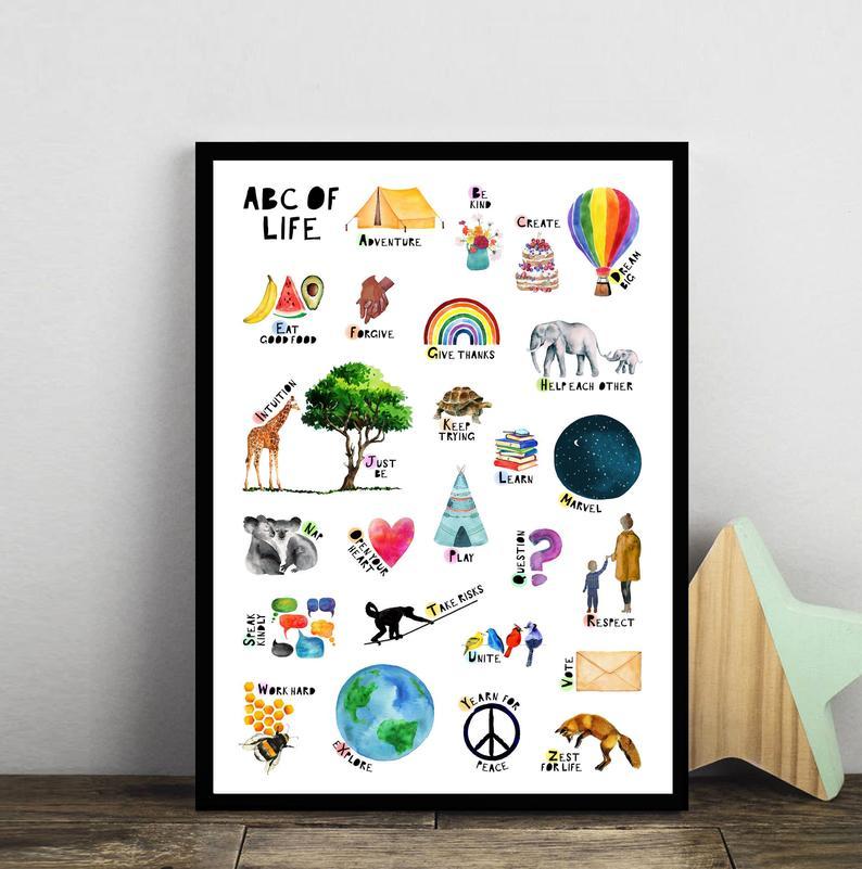 beautiful ABC kids art print
