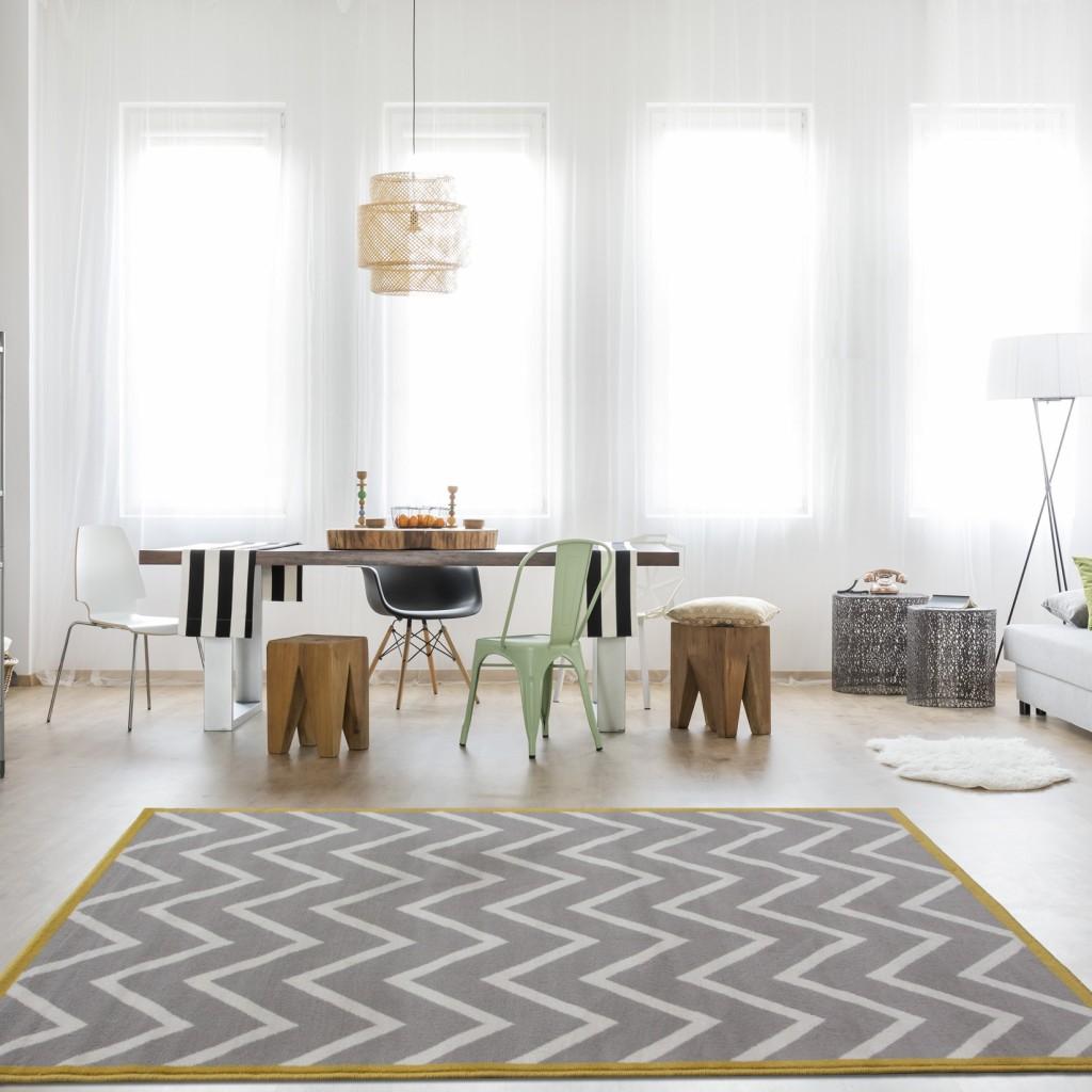grey and mustard rug