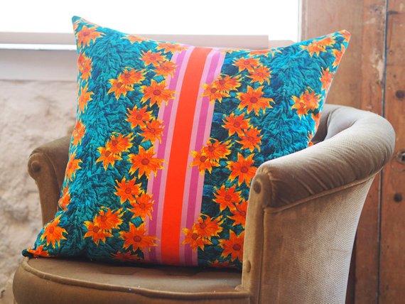 velvet floral cushion