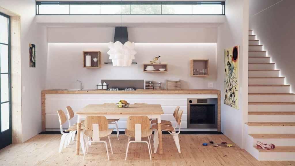 minimalist living. scandinavian white kitchen