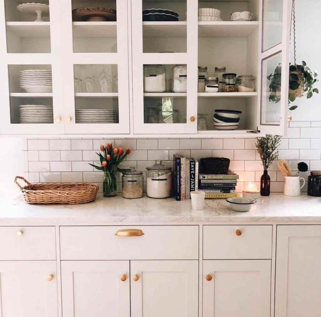 Minimalist living. White kitchen