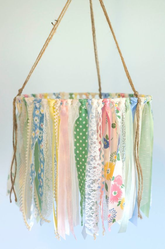 embroidery hoop mobile chandelier with ribbons