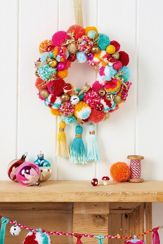 Easy craft projects with pom poms for Christmas