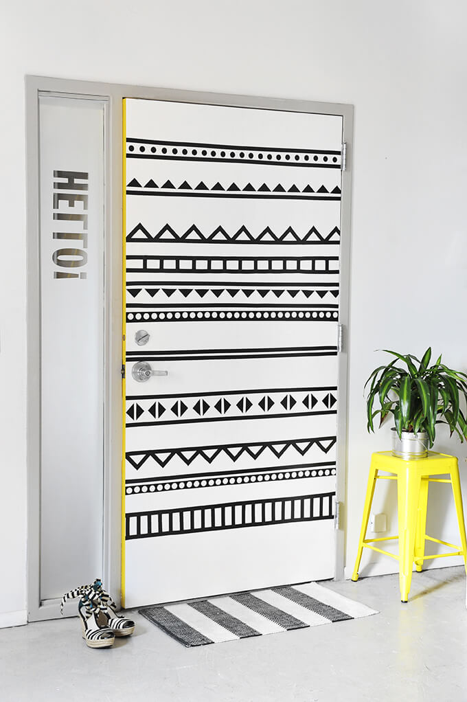washi tape door decoration