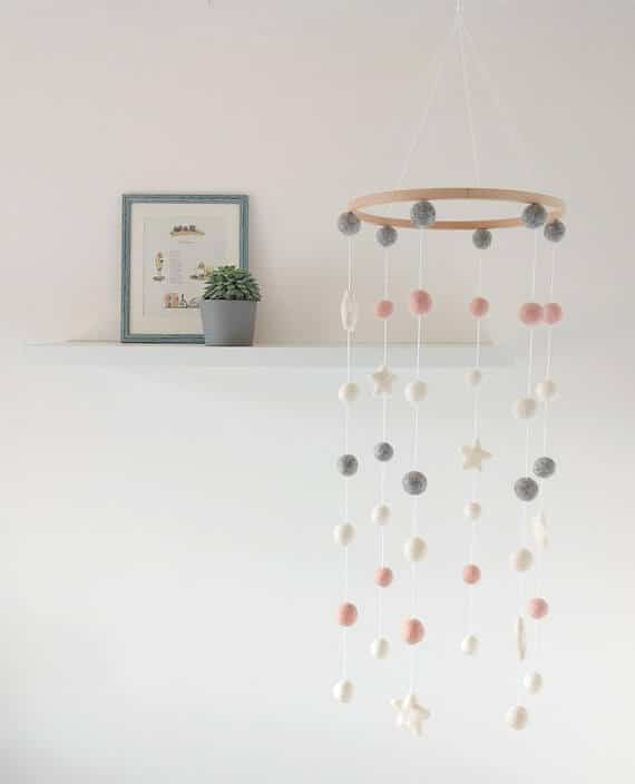 embroidery hoop mobile for nursery with felt balls
