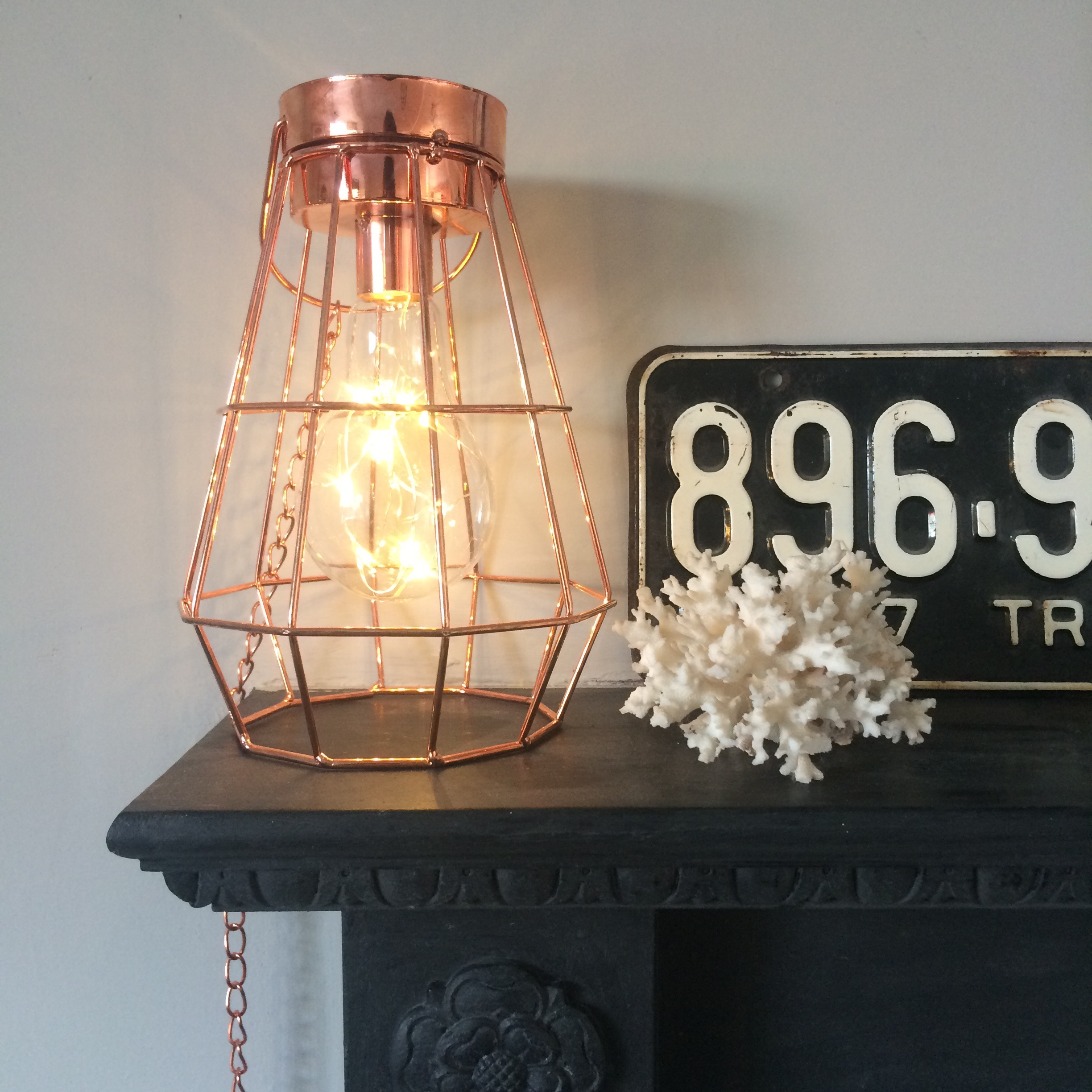 monochrome combined with copper accents