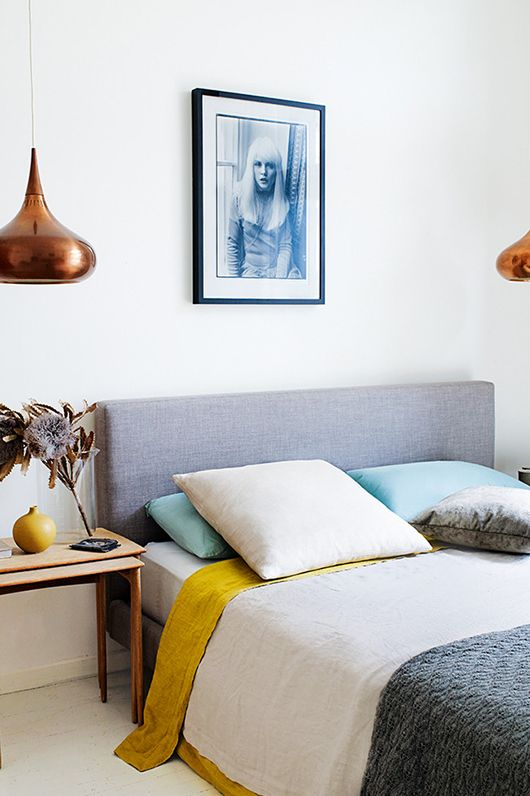 mustard grey bedroom