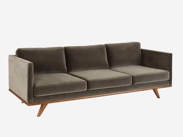 grey velvet sofa midcentury modern homelia