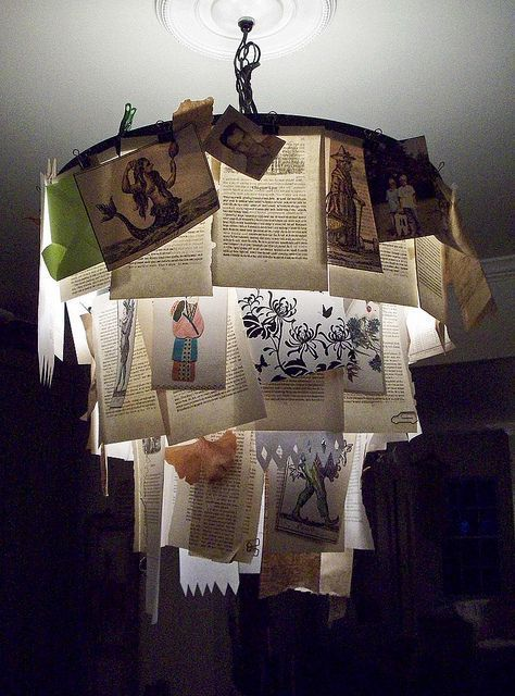 book pages chandelier with embroidery hoops