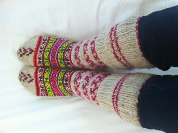 Aztec bohemian wool socks