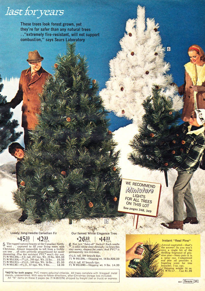 vintage advert for artificial christmas trees