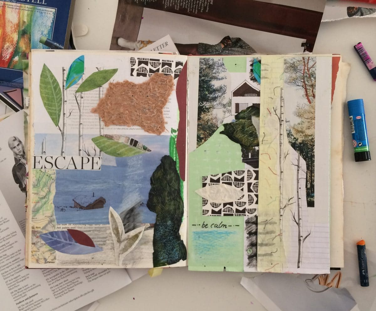 Creative journal example with scrap paper, cut outs, layering and drawings