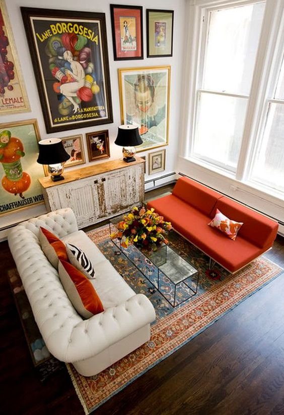 Eclectic living room with burnt orange and vintage furniture